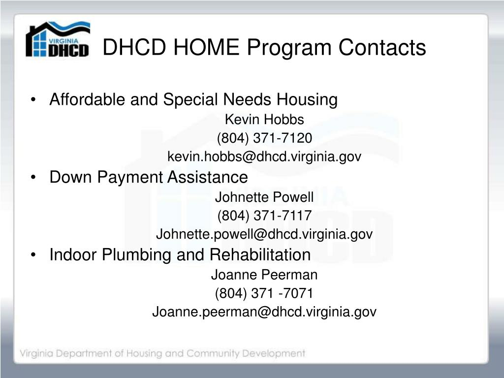 DHCD HOME Program Contacts