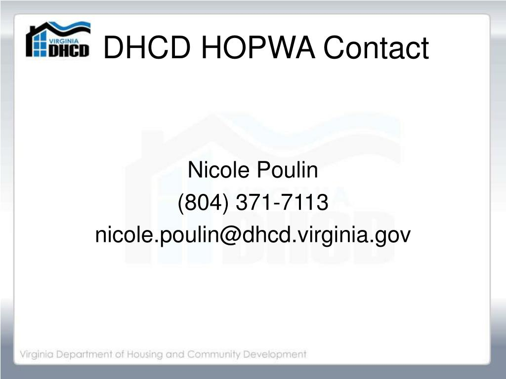 DHCD HOPWA Contact