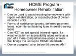 home program homeowner rehabilitation