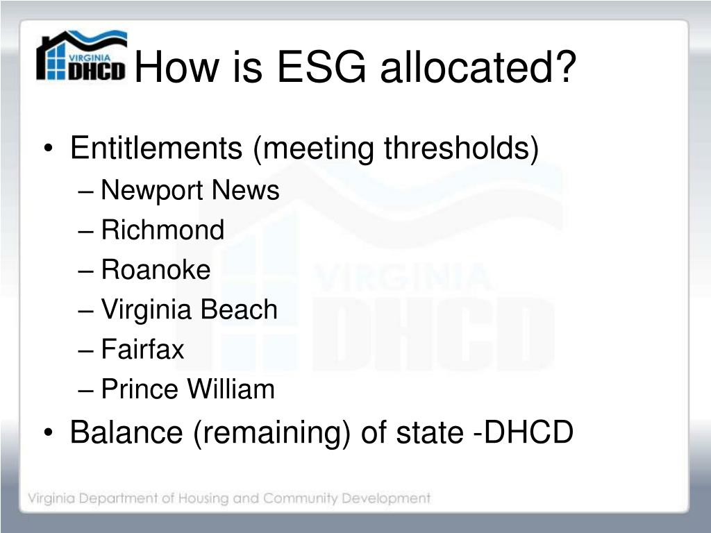 How is ESG allocated?