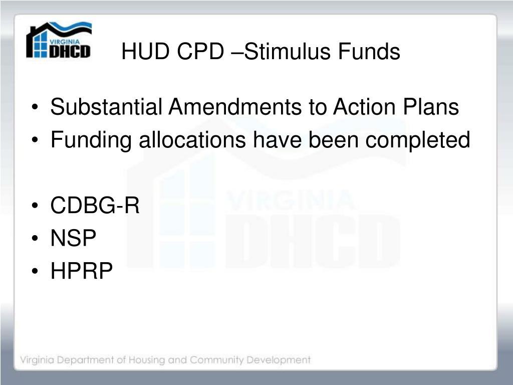 HUD CPD –Stimulus Funds