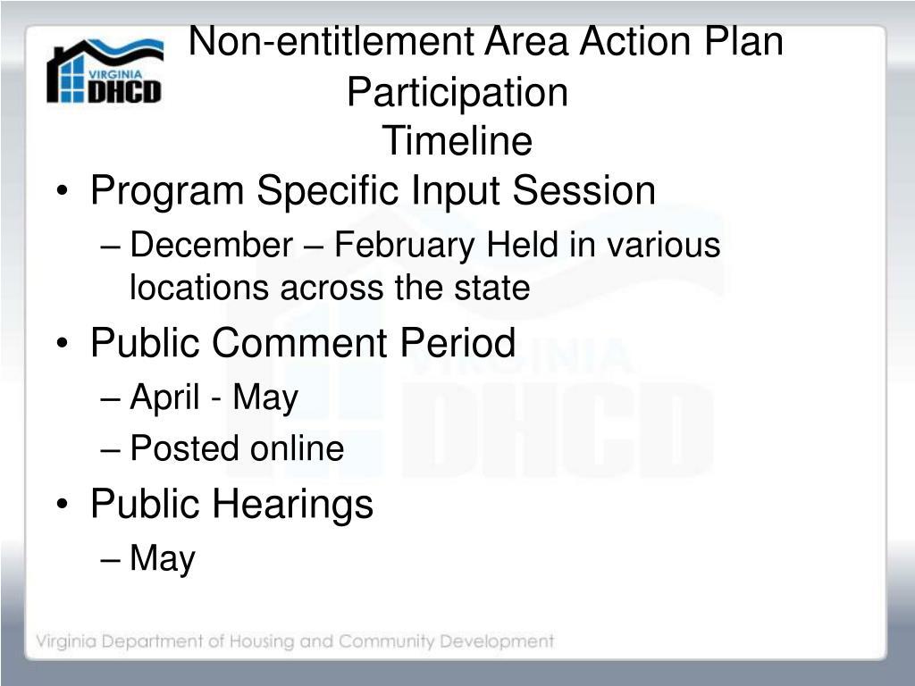 Non-entitlement Area Action Plan Participation