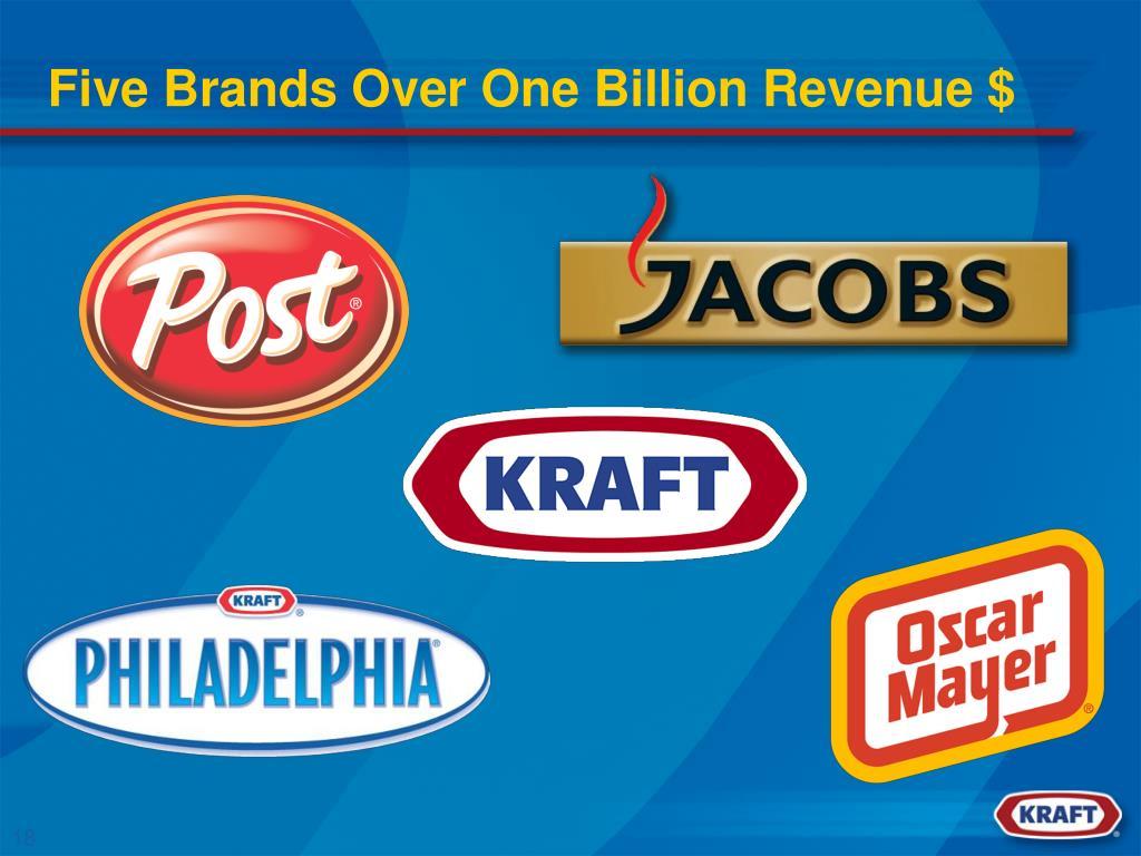 Five Brands Over One Billion Revenue $