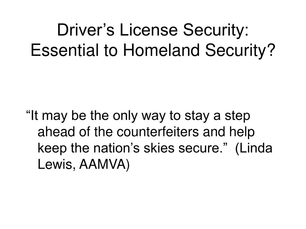 Driver's License Security:
