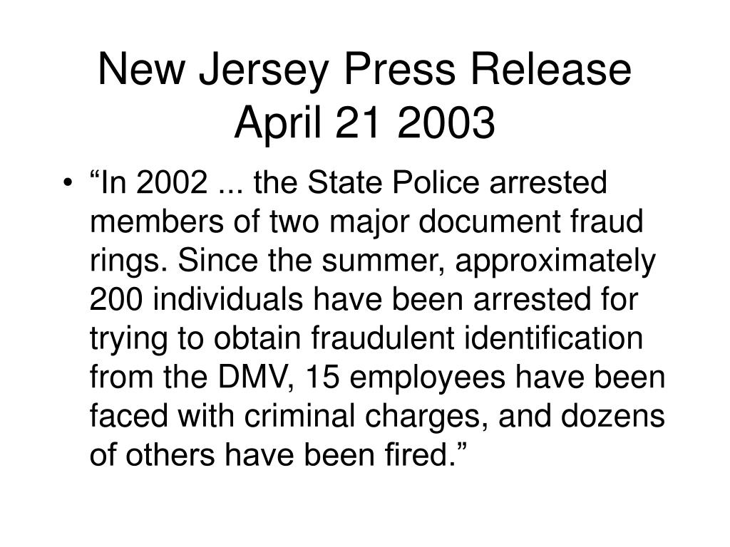 New Jersey Press Release