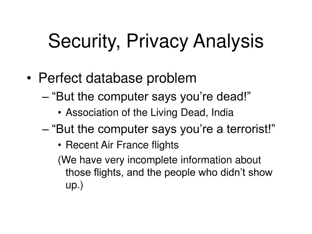 Security, Privacy Analysis