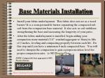 base materials installation