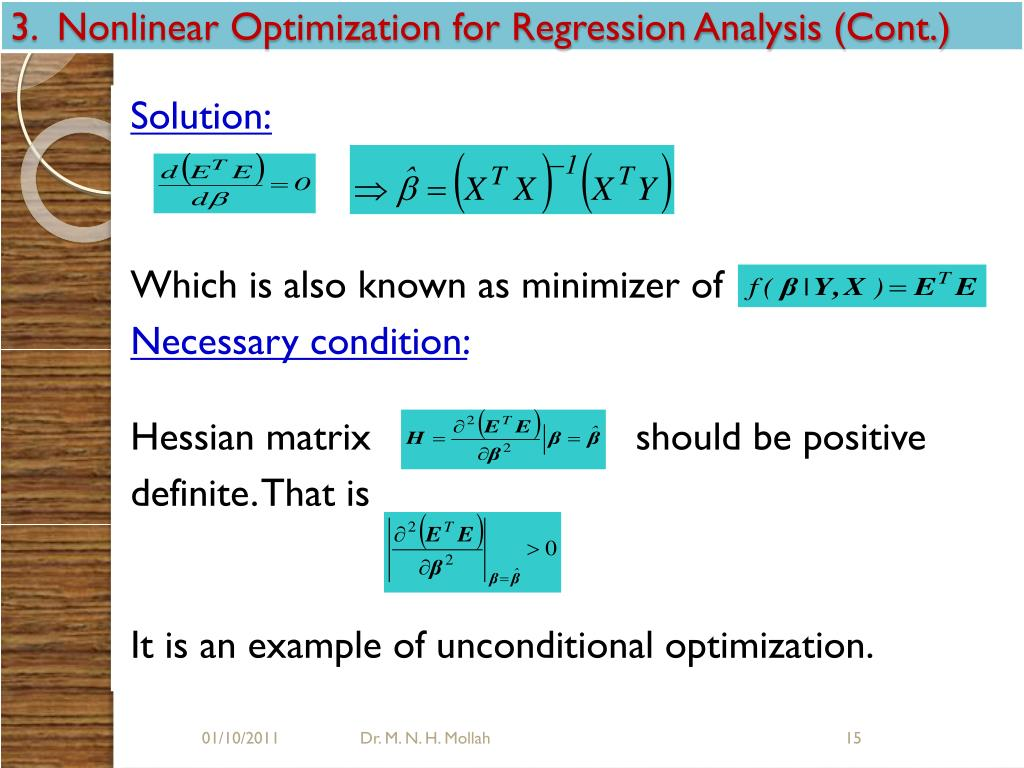 3.  Nonlinear Optimization for Regression Analysis (Cont.)