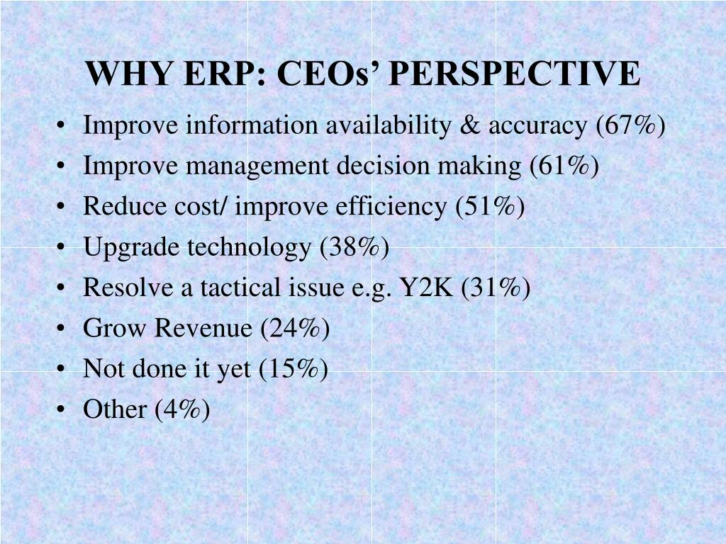 WHY ERP: CEOs' PERSPECTIVE