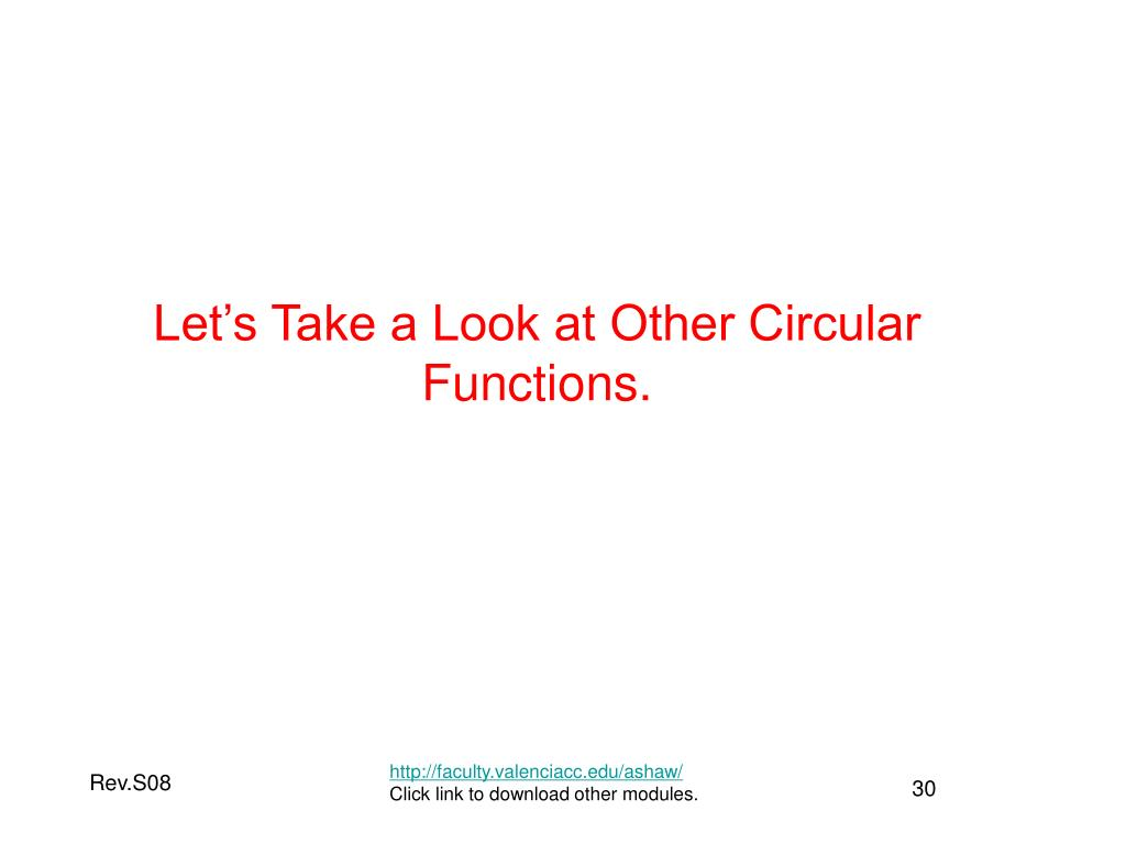 Let's Take a Look at Other Circular Functions.