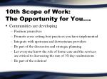 10th scope of work the opportunity for you