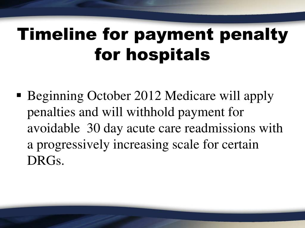 Timeline for payment penalty for hospitals