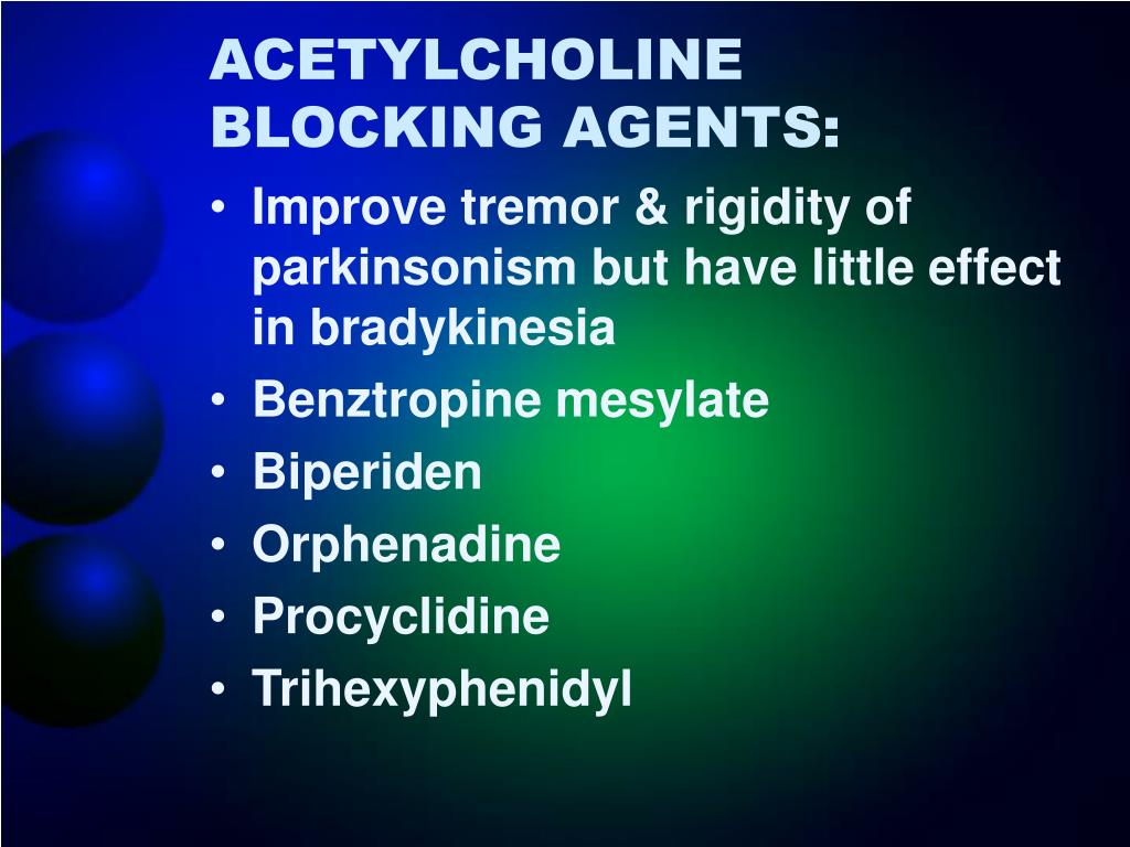 ACETYLCHOLINE BLOCKING AGENTS: