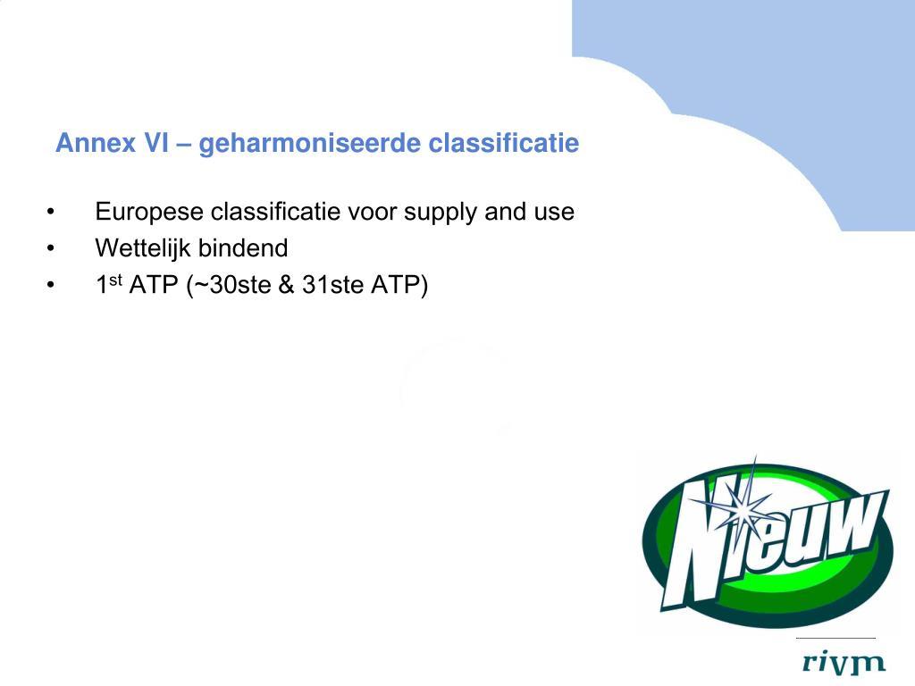 Annex VI – geharmoniseerde classificatie