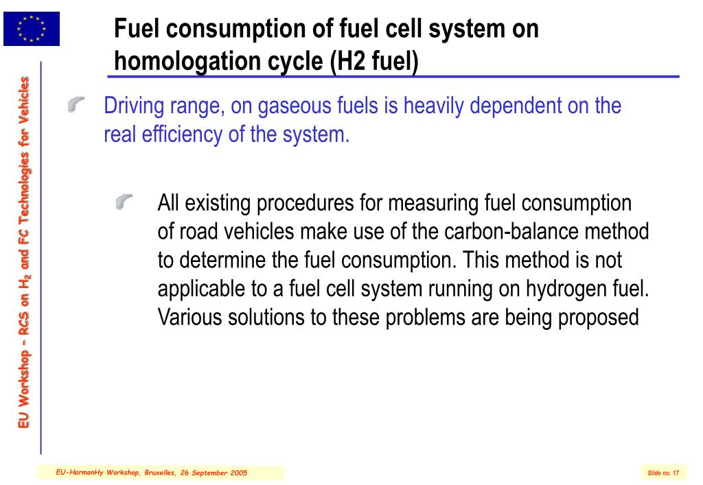 Fuel consumption of fuel cell system on homologation cycle (H2 fuel)