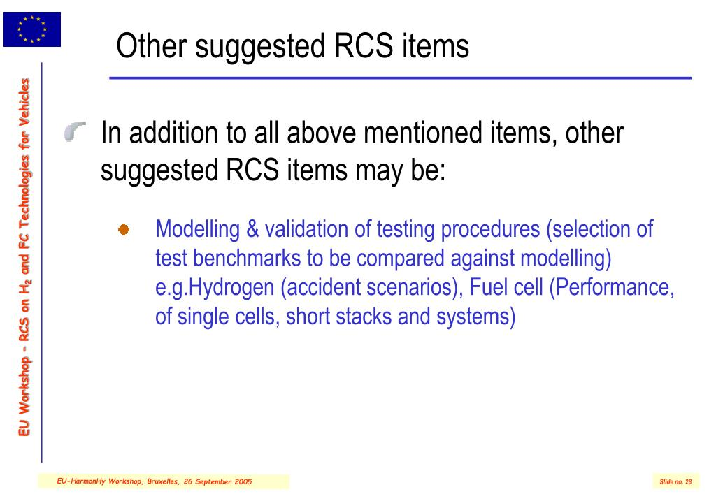 Other suggested RCS items