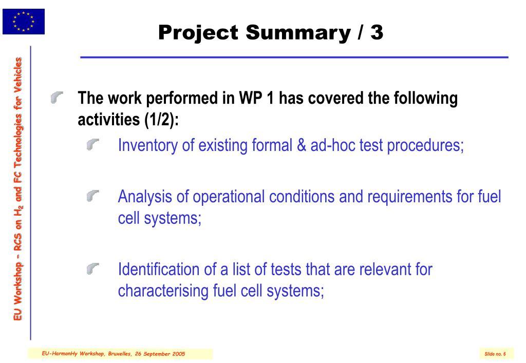 Project Summary / 3
