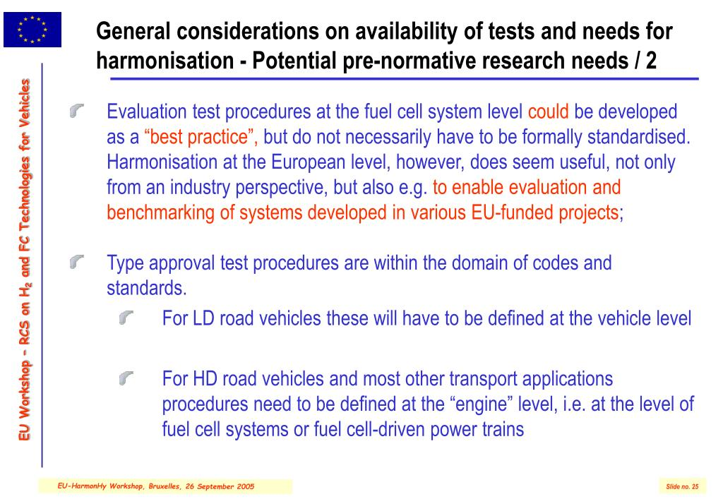 General considerations on availability of tests and needs for harmonisation - Potential pre-normative research needs / 2