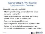 women s health pact teamlet implementation examples