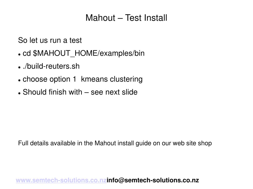 Mahout – Test Install
