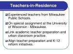 teachers in residence