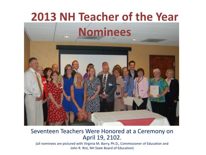2013 nh teacher of the year nominees