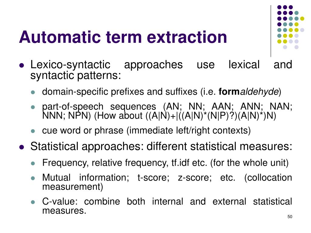 Automatic term extraction