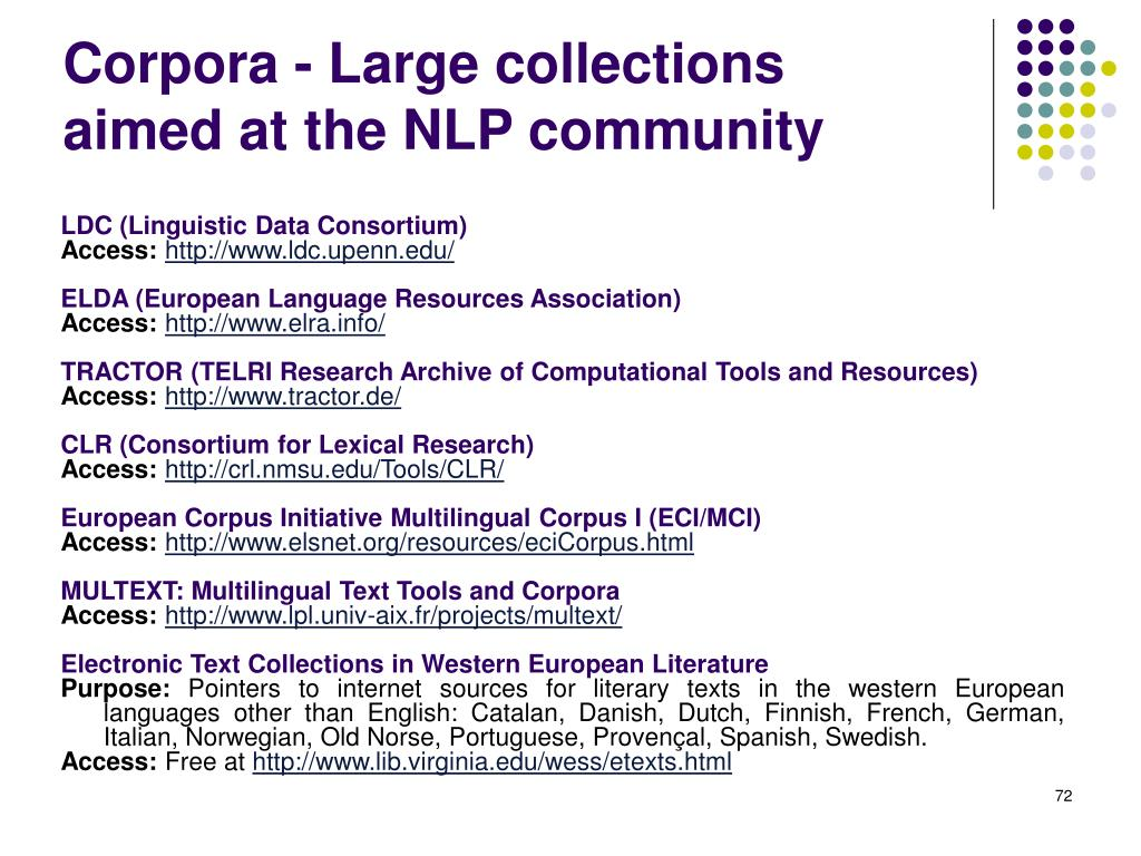 Corpora - Large collections