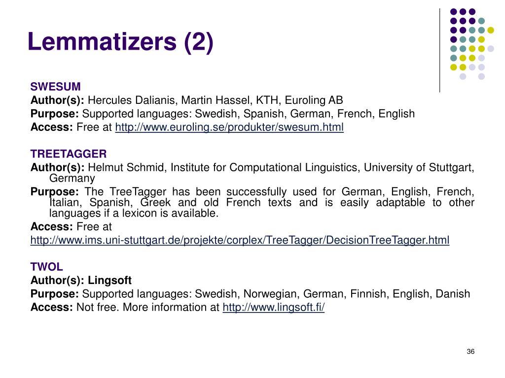 Lemmatizers (2)