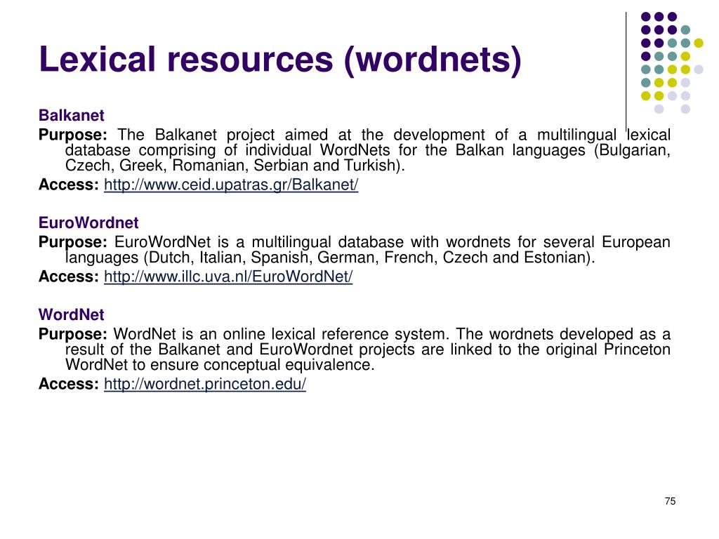 Lexical resources (wordnets)