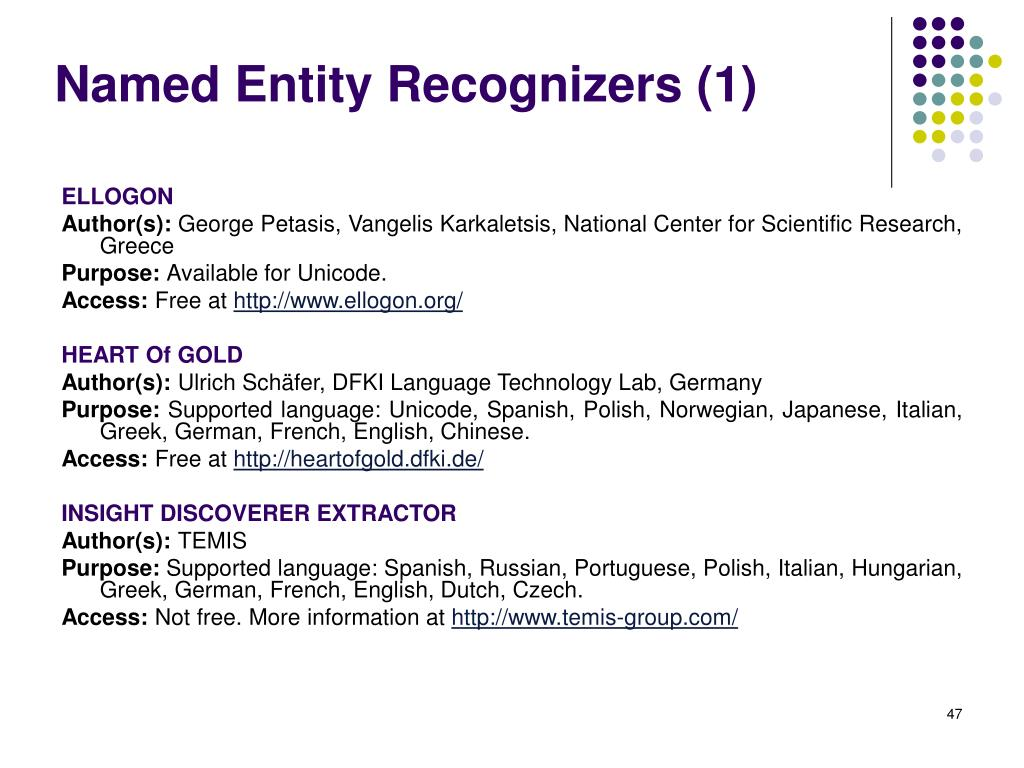 Named Entity Recognizers (1)