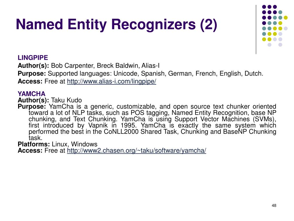 Named Entity Recognizers (2)