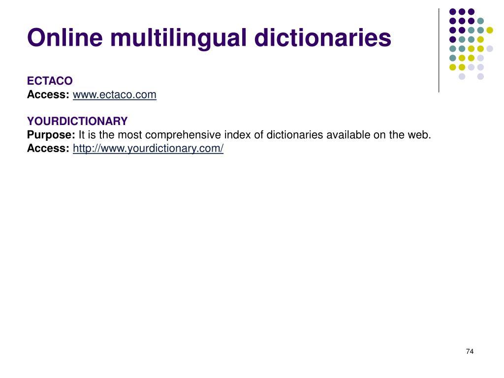 Online multilingual dictionaries