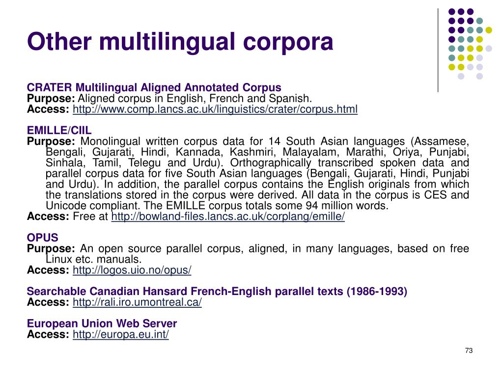 Other multilingual corpora