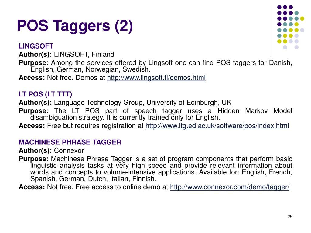 POS Taggers (