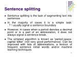 sentence splitting