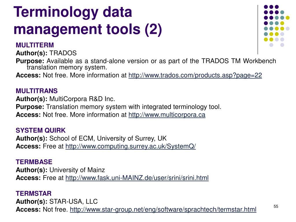 Terminology data