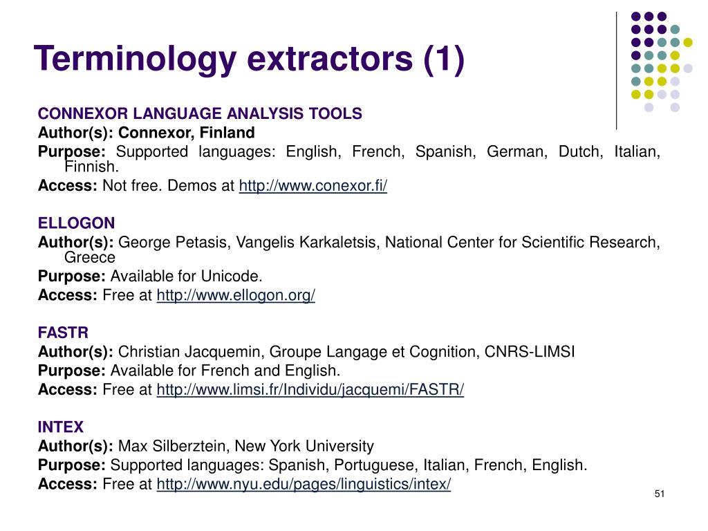 Terminology extractors (1)
