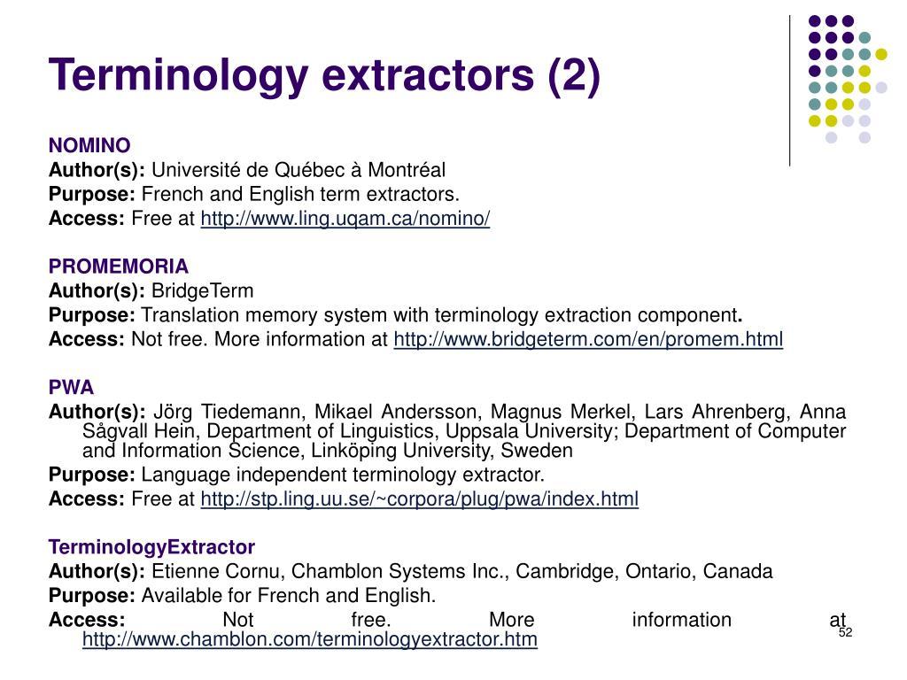 Terminology extractors (2)