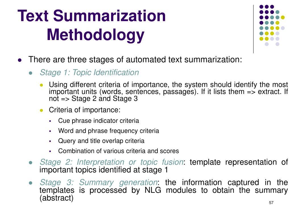 Text SummarizationMethodology