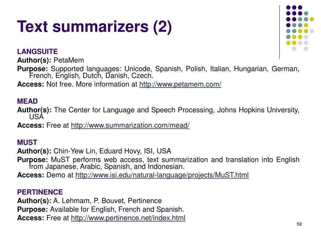 Text summarizers (2)
