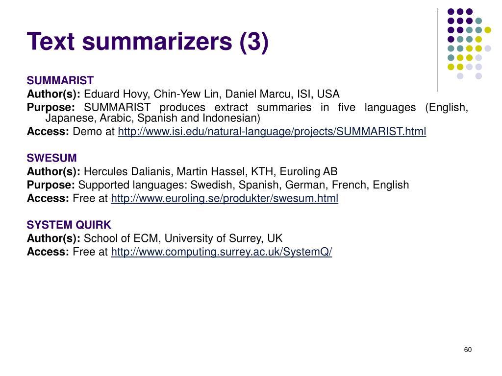 Text summarizers (3)