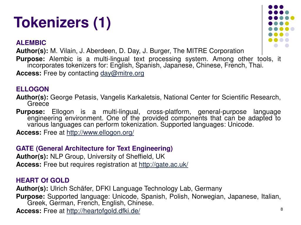 Tokenizers (1)