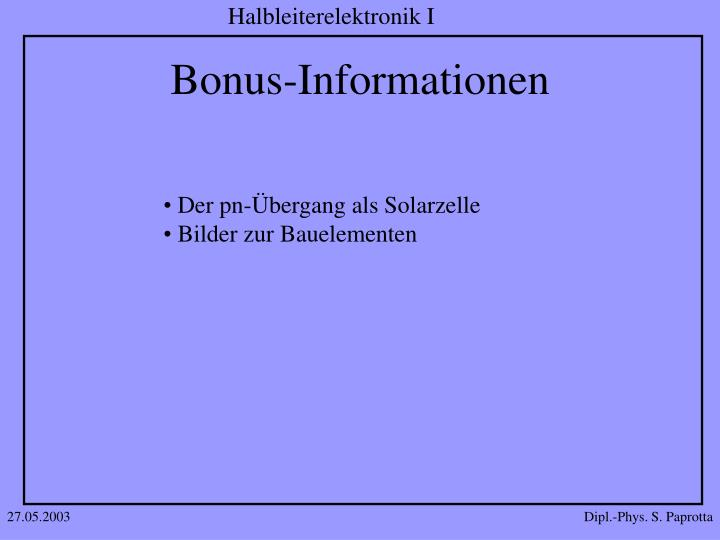 Bonus-Informationen