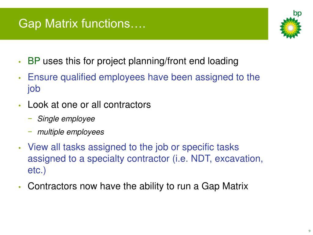 Gap Matrix functions….