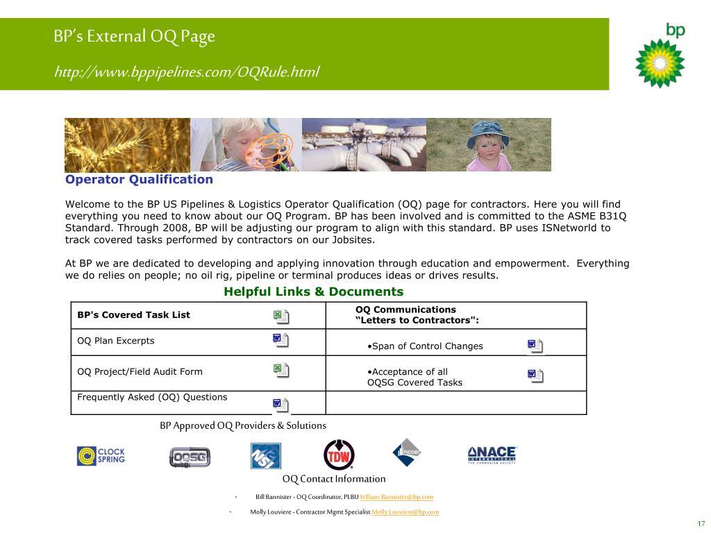BP's External OQ Page
