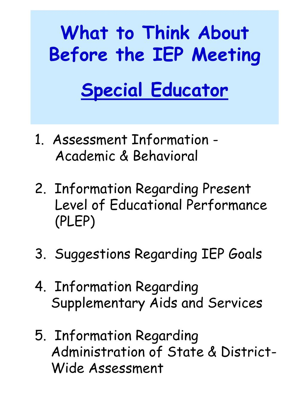 What to Think About Before the IEP Meeting