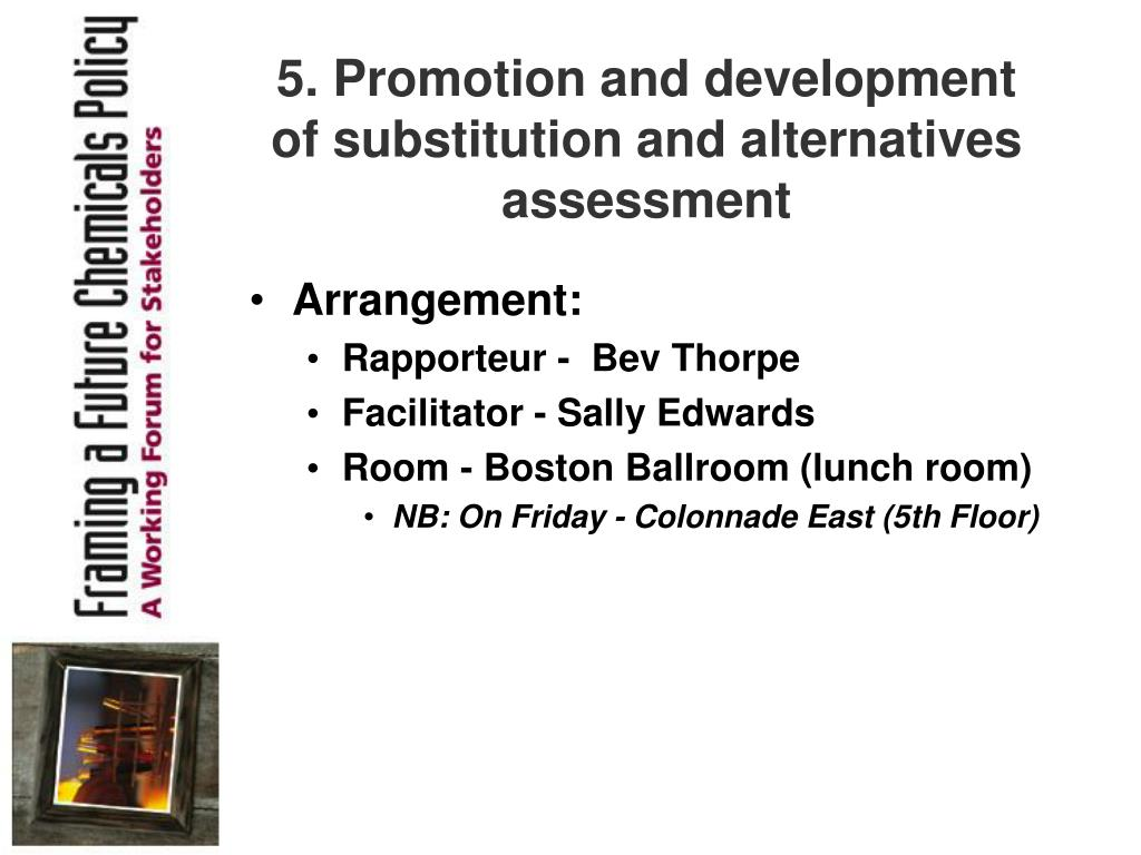 5. Promotion and development of substitution and alternatives assessment