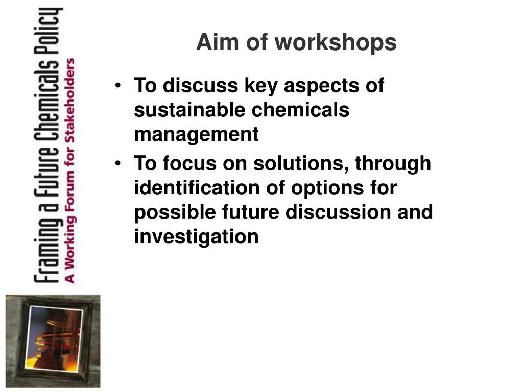 Aim of workshops