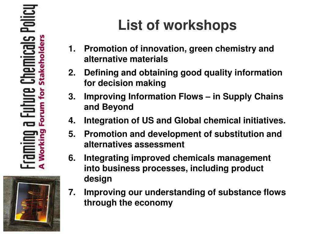 List of workshops